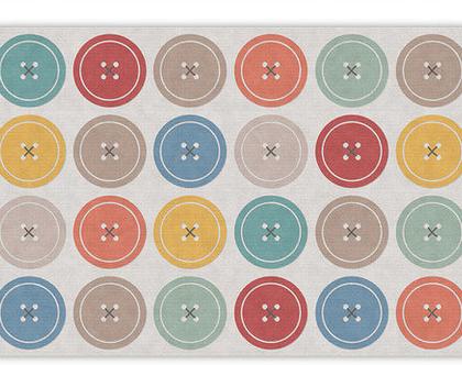 """שטיח PVC עבה במיוחד לילדים דגם- """"כפתורים צבעוניים"""""""