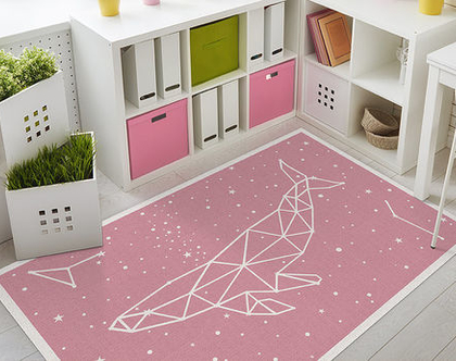"""שטיח PVC עבה במיוחד לילדים דגם- """"לוויתן כוכבים - ורוד"""""""