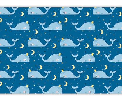 """שטיח PVC עבה במיוחד לילדים דגם- """"לווייתנים כחול- ללא מסגרת"""""""