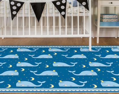 """שטיח PVC עבה במיוחד לילדים דגם- """"לווייתנים כחול- עם מסגרת"""""""