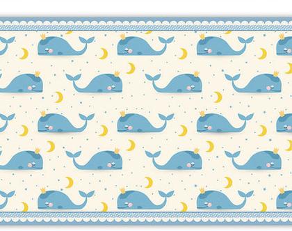 """שטיח PVC עבה במיוחד לילדים דגם- """"לווייתנים תכלת- עם מסגרת"""""""