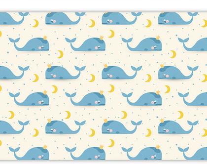 """שטיח PVC עבה במיוחד לילדים דגם- """"לווייתנים תכלת- ללא מסגרת"""""""