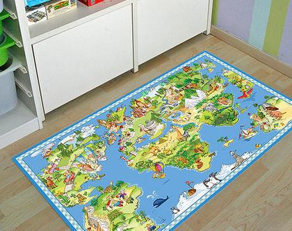 """שטיח PVC עבה במיוחד לילדים דגם- """"מפת עולם לילדים"""""""