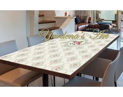 מפת שולחן PVC מעוצבת - דגם PRINCESS | מפת שולחן וינטג דיזיין | מפת שולחן עיצוב בהתאמה אישית