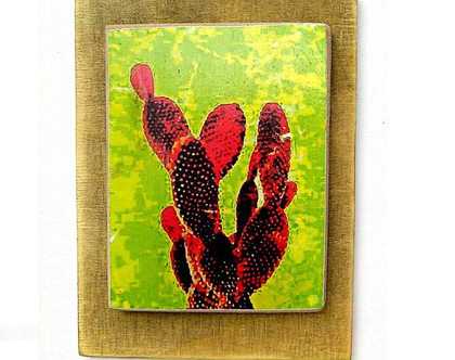 קקטוס קוצני ורך, תמונה על עץ ממוחזר |תמונה לסלון|עיצוב לבית|מטבח|מתנה|