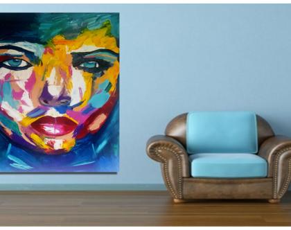 """""""איזבלה"""" -יצירה אבסטרקטית בעבודת יד של פני אישה עם צבעים בגוונים מטריפים..."""