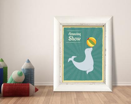 תמונה ממוסגרת | תמונה מעוצבת לחדר ילדים | איור מקורי | כלב ים בקרקס