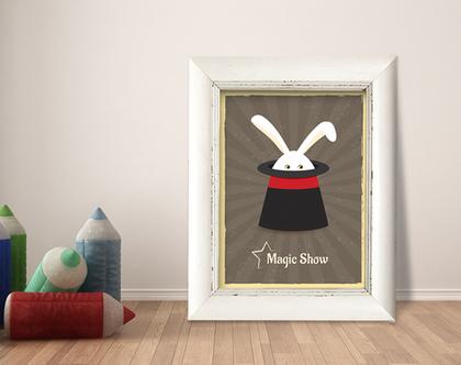 תמונה ממוסגרת | תמונה מעוצבת לחדר ילדים | איור מקורי | שפן בכובע