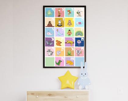 פוסטר מעוצב לחדר ילדים | תמונה ממוסגרת| פוסטר אותיות | חיות ואותיות
