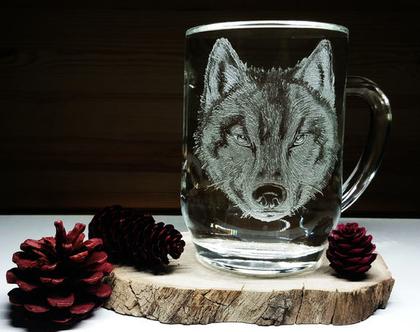 זאב | כוס קפה | ספל קפה | ספל חצי ליטר | חריטה אומנותית בעבודת יד| shiranlavishohat.com | 052-8339640