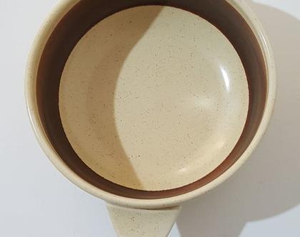 """קערית למרק קרמיקה ישראלית תוצרת לפיד דגם """"שנהב"""""""