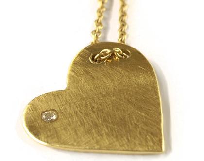 שרשרת זהב | תליון לב זהב 14k | עיצוב תכשיטים | שרשראות זהב מיוחדות | שרשרת זהב עם יהלום | שרשרת לבת מצווה | אורה דן תכשיטים | מעצבת בתל אביב