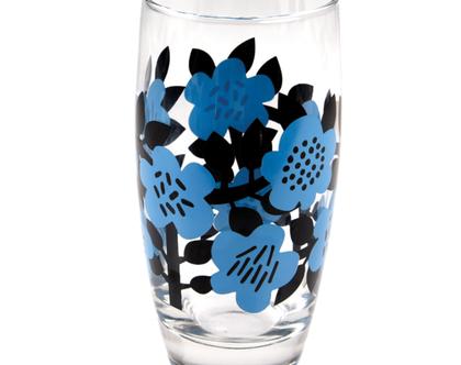 כוס זכוכית הדפס פרחים כחולים | SOFI