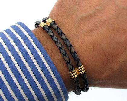 צמיד לגבר - צמיד כפול מעור אמיתי - תכשיטים לגבר שאין בחנויות - צמיד עור כחול, שחור, חום, אדום - צמיד עם סוגר מגנט, צמיד יפה לגבר, מתנות
