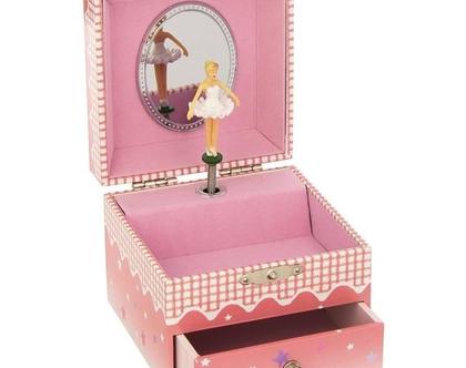 קופסת תכשיטים מנגנת בלרינה ורודה קטנה