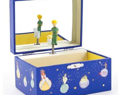 קופסת תכשיטים מנגנת הנסיך הקטן כחולה