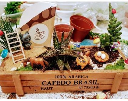 עציץ מעוצב- גינה מיניאטורית - קופסת קפה מלבנית