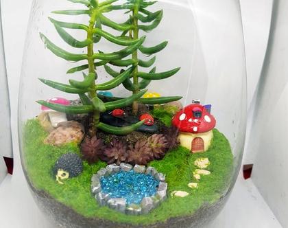 עציץ מעוצב- גינה מיניאטורית - קסם מזכוכית