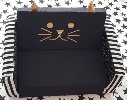 ספה לקטנטנים בעיצוב חתול שחור לבן, ספה נפתחת לילדים, עיצוב חדרי ילדים, עיצוב החדר, ספה עיצוב חדרי ילדים , ספה שחור לבן ספה נפתחת