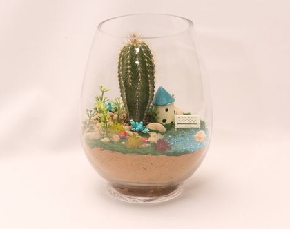 עציץ מעוצב- גינה מיניאטורית - קסם מזכוכית 2