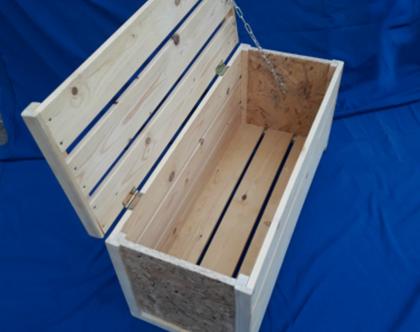ארגז אחסון מעץ. ספסל אחסון מעץ ממוחזר.