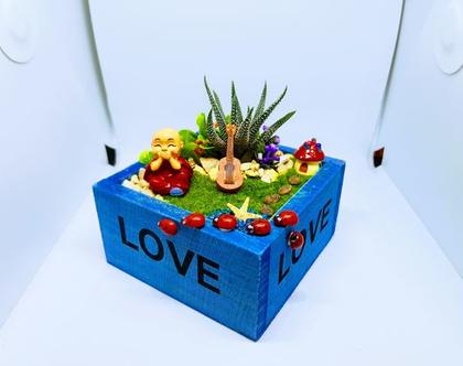 עציץ מעוצב- גינה מיניאטורית - love box 3