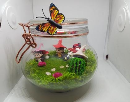 עציץ מעוצב- גינה מיניאטורית - צנצנת קסם- צמח מלאכותי