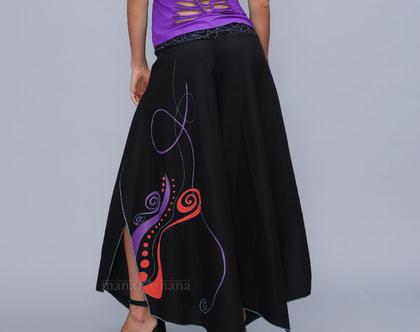 מכנסי פרפר - שחור עם פרינט אדום