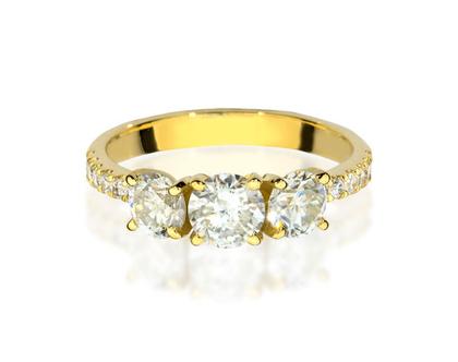טבעת אירוסין 3 יהלומים BELVA