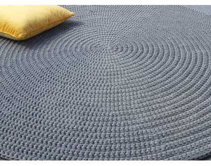 שטיח טריקו | שטיח סרוג | שטיח עבודת יד | שטיח עגול | שטיח אפור | שטיחים סרוגים