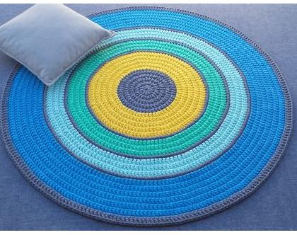 שטיח טריקו | שטיח סרוג | שטיח עבודת יד | שטיח עגול | שטיחים סרוגים