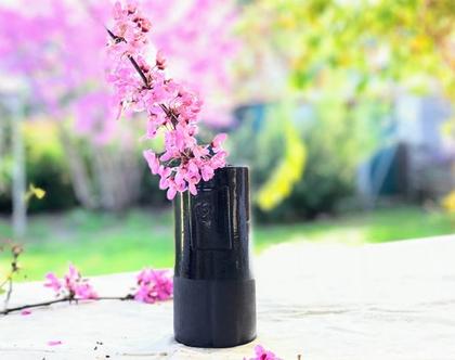 אגרטל שחור מקרמיקה | אגרטל לפרחים | צנצנת פרחים | כלי לפרחים | מתנה לאמא | מתנה לחברה | מתנה לפסח