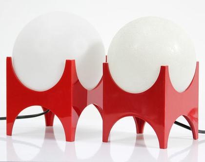 זוג מנורות וינטאג׳ אדומות