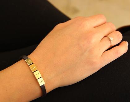 צמיד עם שם   צמידי עור   מתנה לנערה   מתנות לאישה   בהתאמה אישית   עור עם זהב   מקורית   מקוריות   חריטה אישית