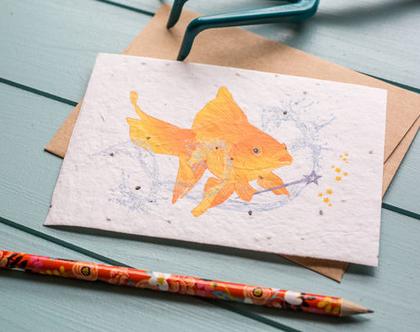 כרטיס ברכה פורח ״דג זהב״
