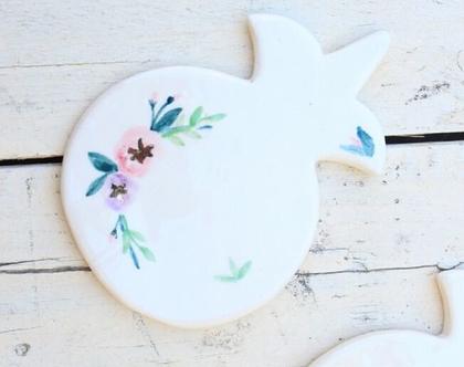 רימון קרמיקה פרחוני לעיצוב שולחן החג משטח לסירים חמים
