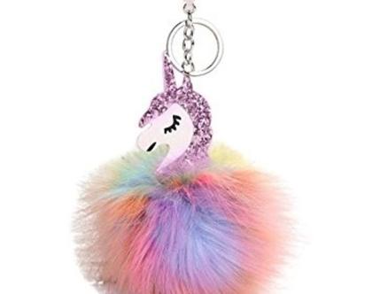 מחזיק מפתחות חד קרן   כדור פרווה unicorn   יוניקורן   לילדות   מתנה מקורית לחברה   חד קרן   אקססוריז לבנות   מתנה קטנה