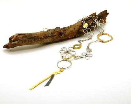 שרשרת ארוכה מעוצבת מקורית. תכשיט מיוחד מתנה. שרשרת פרחונית גדולה. מתנה לאשה עם נוכחות. מתנה תכשיט עם נוכחות. שרשרת כסף וזהב גדולה מתנה. שי