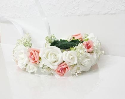 זר פרחים לראש ממשי ורוד לבן עם גבסנית