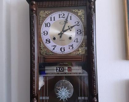 שעון קיר מהודר לבית מעץ מלא, וינטאג