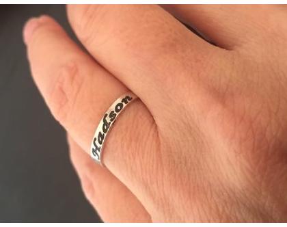 טבעת חריטה כסף - טבעת עם שם - טבעות כסף - טבעת שם - טבעת כסף