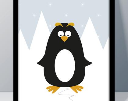 תמונה מעוצבת לחדר ילדים | תמונה גדולה ממוסגרת | פינגווין