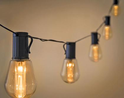 שרשרת גרילנדה סולארית אדיסון 10 מנורות אדיסון מנורות פחם | שרשרת נורות | שרשרת מנורות לגינה