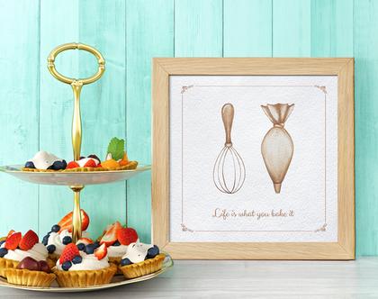 תמונה למטבח | אפייה | תמונה במסגרת עץ