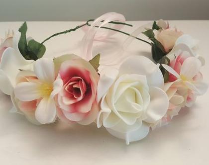 זר לראש | כתר פרחים | זר פרחי משי | עיטור ראש | חגיגה | יום הולדת | בת מצווש |לבן ורוד | מלאכותי | ורדים | זר ראש | שושבינה | מסיבת רווקות |