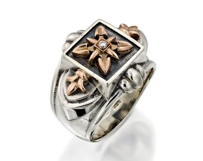 תכשיטים לגבר, טבעת כסף לגבר, תכשיטים מעוצבים לגבר, מתנות לגבר ליום הולדת, טבעת יהלום לגבר