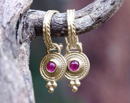 עגילי זהב 14K, עגילי רובי וזהב, עגילי זהב וינטאג', מתנה לאישה, עגילים זהב תלויים, עגילי זהב ייחודים, אבן חודש יולי, עגילי חישוק זהב,