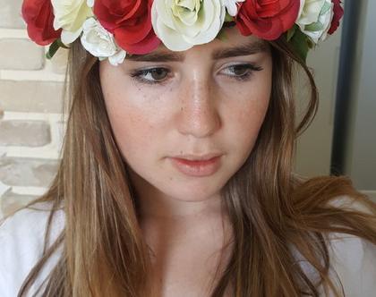 זר לראש | זר יומולדת | זר פרחיי משי | עיטור ראש | כתר פרחים | חגיגה | בת מצווש | יום הולדת| קישוט | שמנת אדום | סגנון כפרי | מלאכותי | ורדים