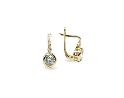 עגילי זהב - עגילי זהב עם זרקונים - עגילים לכלה - תכשיטי כלות - עגילים תלויים זרקונים - עגילים מזהב