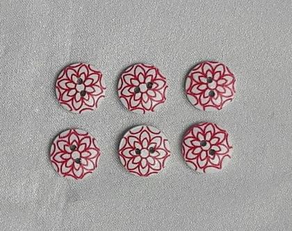 6 כפתורים עגולים מעץ - לבן עם פרח אדום -2